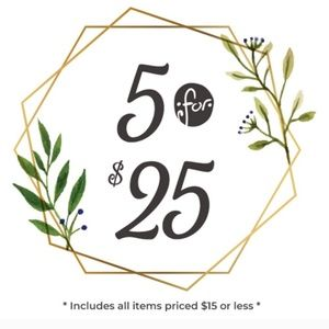 Any items $15 or under! 5 for $25! Limited time!